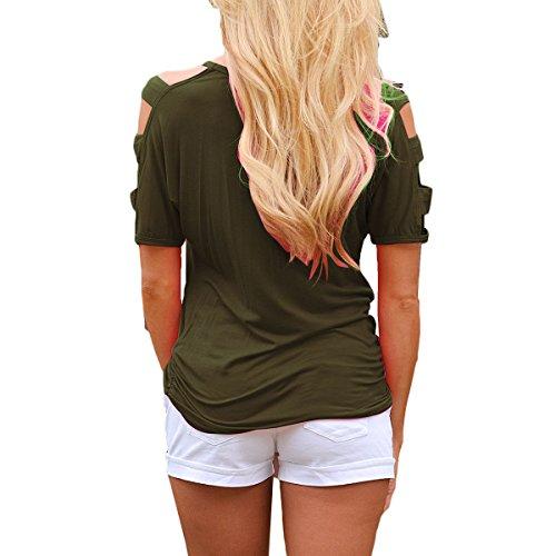Damen Elegant Casual Oberteile T-shirt Sommer V-Ausschnitt Trägerlos Batwing Kurzarm Bluse Top Armee-Grün