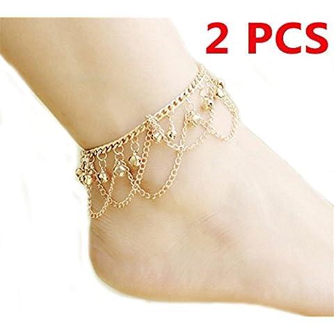 yallff 2pieza mujer vintage bohemio Danza del Vientre Golden Jingling campanas cadena pulseras de tobillo Barefoot