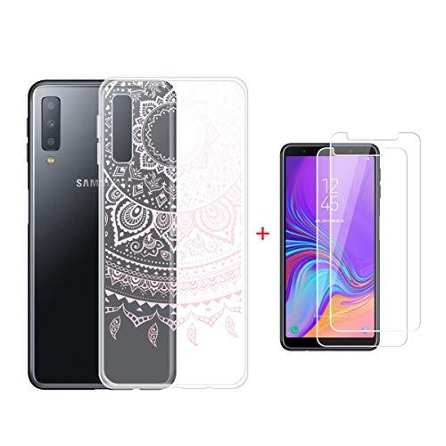 HYMY Samsung Galaxy A7 2018 (6.0') Cover + 2 x Pellicola Protettiva- Morbida Trasparente Rosa Dreamcatcher Silicone Bumper Case TPU Protettivo Copertura Custodia-WM86
