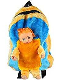 Spero Baby Doll With Feeding Bottle Fur School Bag For Kids, Travelling Bag, Carry Bag, Picnic Bag.