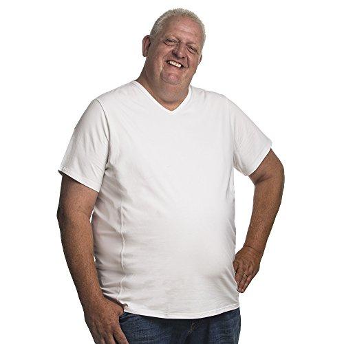 Alca Fashion 5XL T-Shirt für Männer mit Übergröße Bauchumfang Herren V-Hals Basic Tshirt Übergrößen 5XL-B (für Bauchumfang 146-153 cm) Weiß -