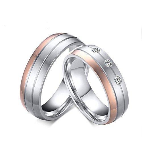 Bishilin Paarepreise Edelstahl Ringe für Paar Matte Fertig Hochglanzpoliert AAA Zirkonia 6MM RundEherring Verlobungsringe Paar Silber Rosegold
