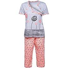Happy Mama. Mujer Pijama Premamá Camiseta Lactancia Pantalones Recortadas.
