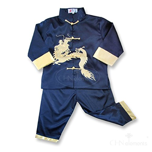 Chinese Boy's Martial Arts Outfits Embroidered Dragon-Navy