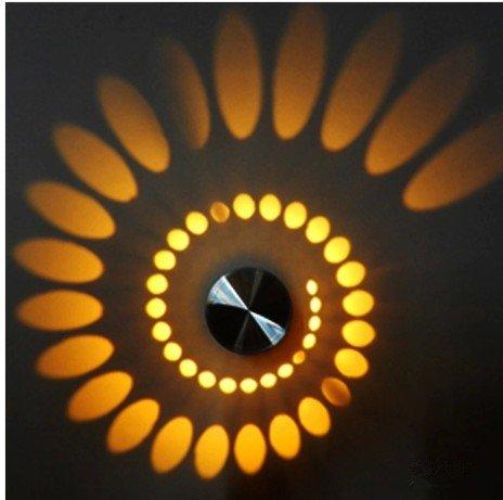 King Orten (Wasinon®AC85v ~ 265V, 3W Künstlerische Moderne LED-Wandleuchte mit Streulichtdesign Whirlpool Schatten Stretching-gelb)