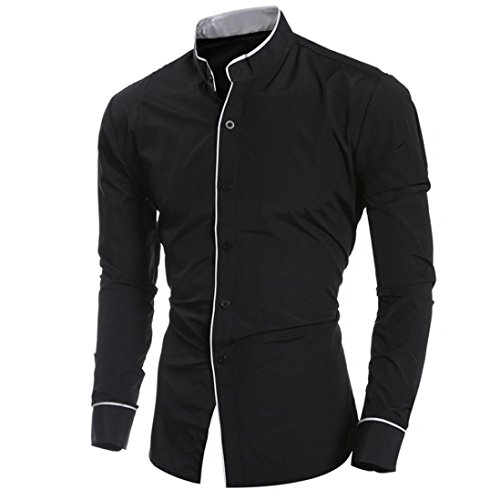 Men's formal shirts, Magiyard Protracted-sleeved Casual Slim Personality Shirt Top Blouse relaxed style (XXL, Black)