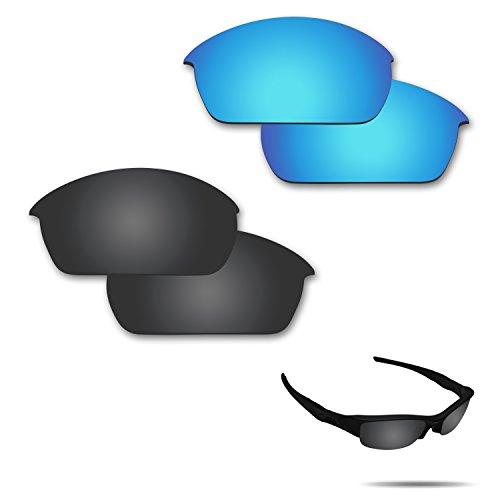 Fiskr Anti-Salzwasser-Polarisierte Ersatzgläser für Oakley Flak Jacket Sonnenbrillen, 2 Paar, Stealth Black & Ice Blue, 0 US