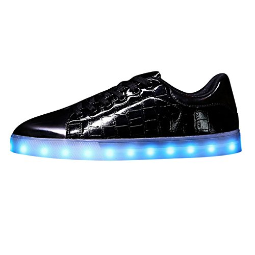 Joymoze Backet à motif litchi chaussure DEL 7 couleurs coupe basse rechargeable unisexe avec bout avec des paillettes à la mode Noir