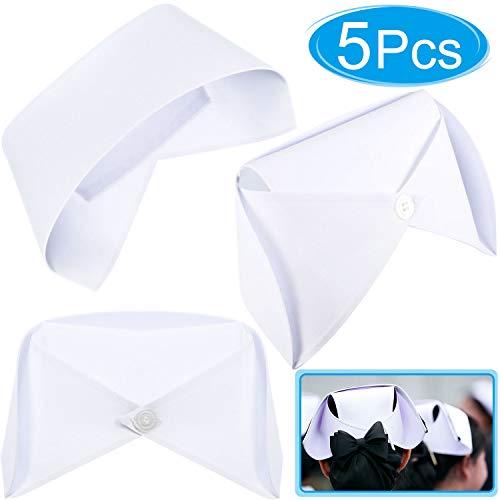 Krankenschwester Weiß Kostüm - WILLBOND 5 Stücke Weiße Krankenschwester Hut Stirnband Krankenschwester Cap Kostüm und 10 Pins für Dress Up Kostüm Halloween Party oder Geschenk für Krankenschwester