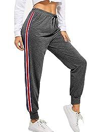 BUDERMMY Damen Jogginghose Sporthose Freizeit Streifen Hose Baumwolle Elastischer Bund Traininghose mit Taschen