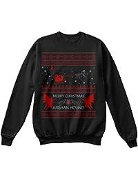 e8d615337e00 teespring Bequemer Pullover Damen Herren Unisex S Afghan Hound Christmas  Ugly Sweater Schwarz
