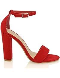 Essex Glam Sintético Sandalias de punta abierta con tira al tobillo y tacón cuadrado