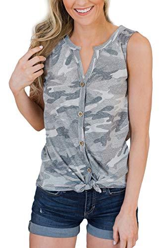 Ärmellos Camouflage (BesserBay Damen Top Ärmellos Tank Top Bauwolle Shirt mit Knöpfe Camouflage 36)