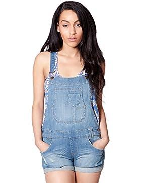 Donna - Salopette Corte - Lavato chiaro Salopette donna jeans pantaloncino over WOM93