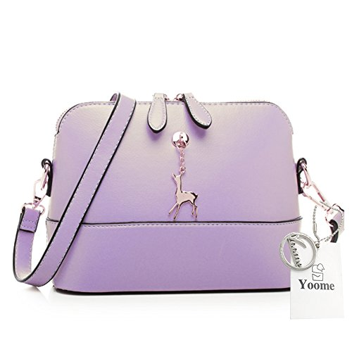 Yoome Cross Pattern Little Cervo Ciondolo Retro Trucco Sacchetto Borsa Medio Sacchetto Borsa in pelle - Navy Viola