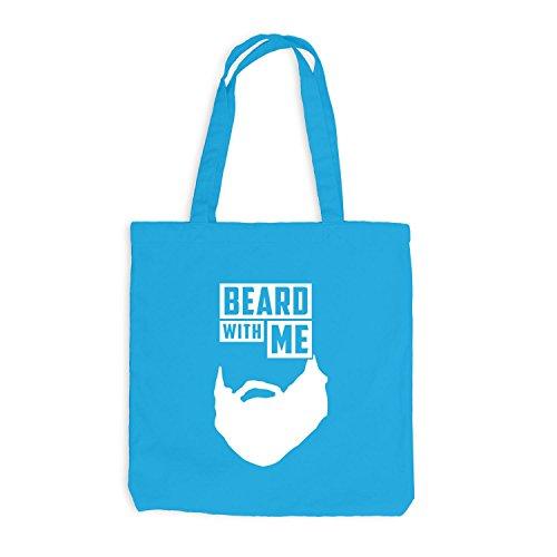 Jutebeutel - Beard with me - Bart Surfblau