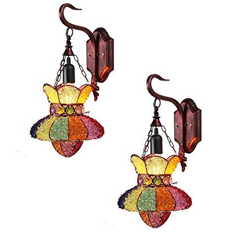 Chuen Lung Vintage Tiffany-Stil Wandleuchte Buntglas Kreative Retro Kristall Wandleuchte Gang Gang Gang Balkon Schlafzimmer Wandleuchte 2 Pack