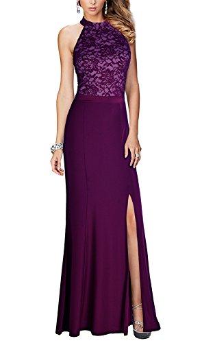 REPHYLLIS Damen Halter Vintage Spitzen Brautjungfer Lang Abendkleider M Lila (Lila Brautjungfer Kleid)