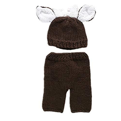 WESEEDOO Baby Newborn Fotoshooting Bär Stricken Outfits Süße Kostüme Stützen-Hüte Häkeln Sie Fotografie Prop Brown (Zukunft Erinnerungen Kostüm)