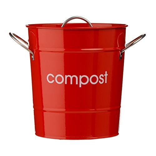 Premier Housewares 0510017 Compostiera, in Acciaio Zincato Rosso, Maniglie in Zinco, Secchio di Plastica Interno