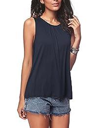 Fliegend Camiseta Sin Mangas para Mujer Top Plisada Blusa de Verano Casual Camisas de Col V