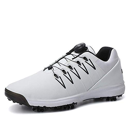 Scarpe da Golf Professionali da Uomo, Sneaker con Borchie protettive in Pelle per Esterno, Scarpe da Allenamento Leggere da Trekking Traspiranti da Golf, Lacci con Fibbia Rotante 2019,Bianca,47
