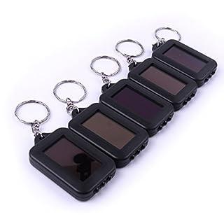 ATOPLEE 5pcs mini bewegliche Solarbetriebene Panel-Akku 3 LED Taschenlampe Schlüsselanhänger
