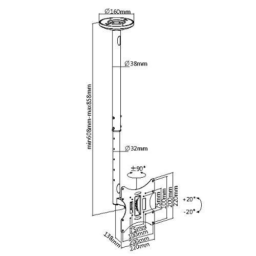 myWall HL4-2WL Höhenverstellbarer Deckenhalter für Flachbildschirme, 23-42 Zoll (58-107cm), bis 30Kg weiß