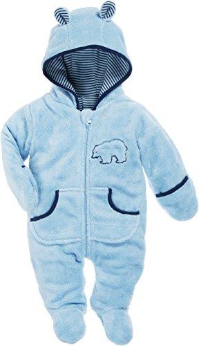 Schnizler Baby Fleece-Overall, atmungsaktiver Unisex-Jumpsuit für Jungen und Mädchen mit langem Reißverschluss und Kapuze, mit Bär-Stickung - Bär Strampler