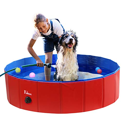 Fuloon Foldable Dog Paddling Pool Puppy Cats Swimming Bathing Tub Pet Children Kid Ball Water Ponds (Red/Blue, φ100*30H)