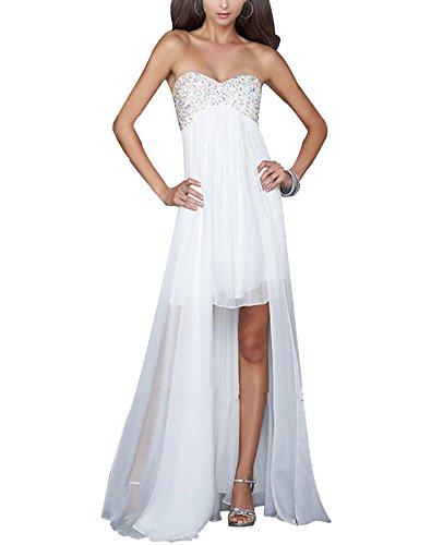 Erosebridal Schatz-Mieder High Low Abendkleider Weiß