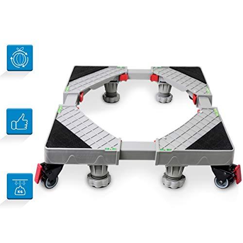 Grandekor Base Lavatrice Asciugatrice Frigorifero Universale Regolabile Mobile Base con 4×2 Gomma Ruote e 4 Piedi Per Grandi Elettrodomestici