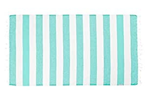 Hammamas Bold Cotton Towel - Spearmint and White