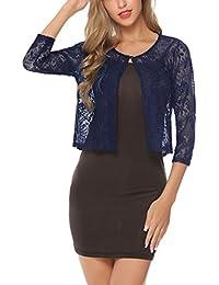 bb6f06065c2baf Abollria Damen Festlich Spitzen Bolero Elegant Weiche Kurze Jacke 3/4 Arm  Bolerojacke zum Kleid