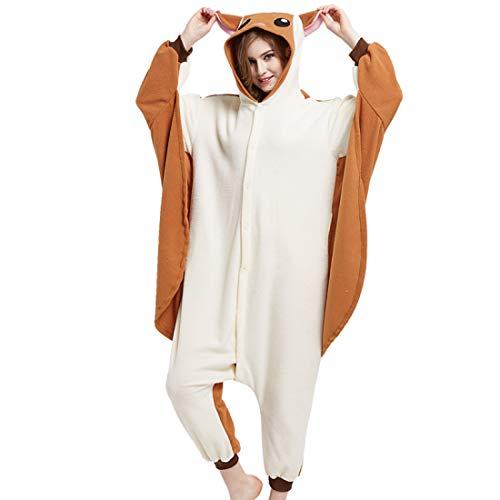 DUKUNKUN Erwachsene Maus/Eichhörnchen/Flying Squirrel Pyjamas Kostüm Braun Cosplay Für Tier Nachtwäsche Cartoon Halloween Festival/Urlaub/Weihnachten,XL