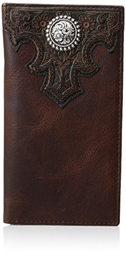 Ariat Men's Oil Scroll Over Top Rodeo Western Wallet, Brown, One Size - Croc Embossed Wallet