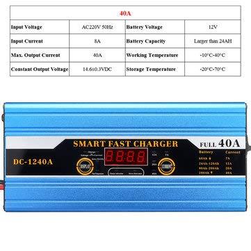 C-FUNN Batteria 20A / 30A / 40A Piombo-Acido 20Ah A 200Ah Caricabatterie Intelligente Multifunzione per Display LCD per Auto Moto - 40A