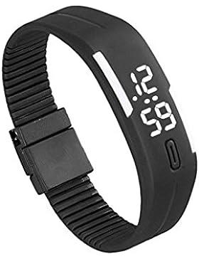 Franterd® Mode Herren Frauen Damen-Armbanduhr Elegant Rubber LED Uhr Datum Sports Armband-Digital-Armbanduhr Schwarz...