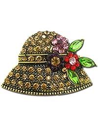 OULII Broches de Perlas Elegante Material de Aleación Decoraciones de Ropas Reglo Ideal para Día de Madre para Mujeres Niñas (Sombrero)