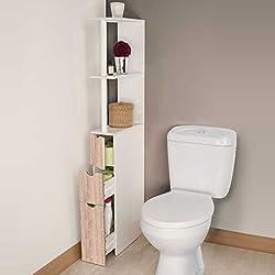 IDMarket - Meuble WC étagère bois 3 portes coloris hêtre gain de place pour toilettes
