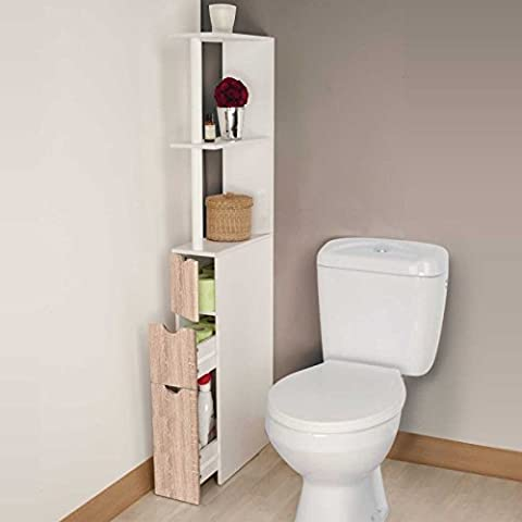 Etagere Melamine Hetre - IDMarket - Meuble wc étagère bois 3