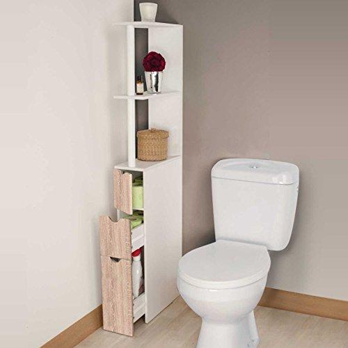 IDMarket - Meuble WC étagère bois 3 portes coloris hêtre...