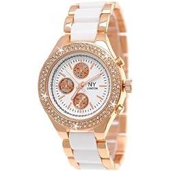 NY London Designer Rose gOld/White Ladies Dress Bracelet watch