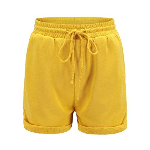 Shorts Damen Sommer BakeLIN Kurze Hose Einfarbig Crimpen Lose Strand Sport Hot Pants (Schwarz Grau Rosa Gelb, S~XL) (XL, Gelb)