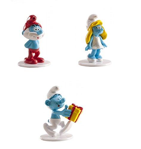 Lot 3 Figurine PVC personnage Schtroumpf - Dek Déco Gâteau Anniversaire Pvc Résine