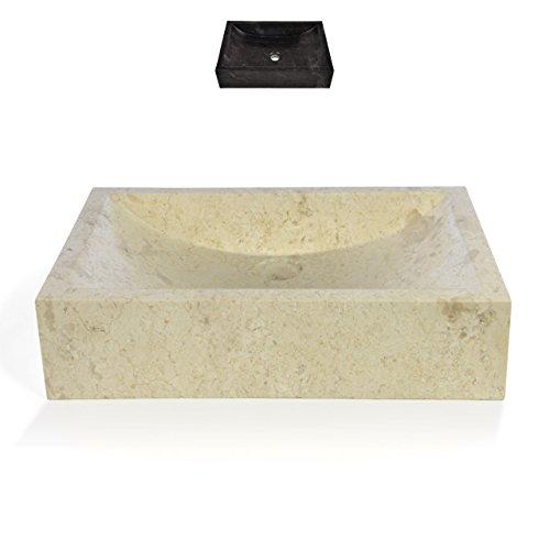 Divero eckiges Aufsatz-Waschbecken Filiano Handwaschbecken Waschschale Marmor Natur-Stein poliert Creme