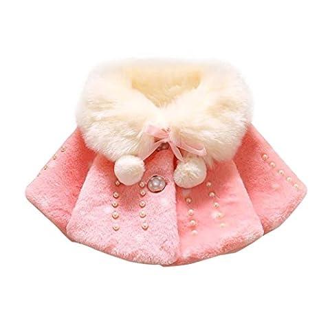 Manteau Doux Chaud en Coton Hiver ,Moonuy Manteau de manteau de fourrure de lapin chaud de filles de chéri Veste chaude épaisse de couleur unie Jacket soie vêtements ruban Tops (2-3T,