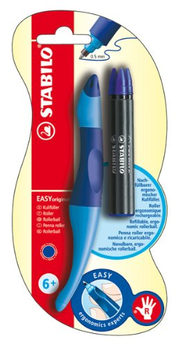 STABILO EASYoriginal 1er Blister rechts dunkelblau/hellblau inkl. 3 Refills - ergonomischer Tintenroller