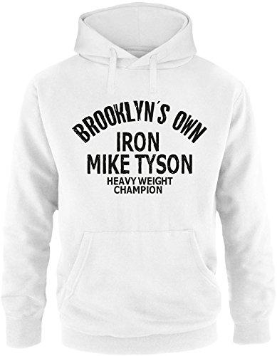 ezyshirt Brooklyn`s Own Iron Mike Tyson Herren Hoodie Weiss/Schwarz