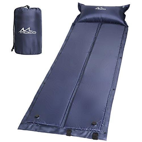 MoKo Selbstaufblasbare Luftmatratze, Wasserdicht, Leicht und Gemütlich Sleeping Pad Luftbett mit aufblasbarem Pillow für Outdoor Camping, Wandern, Reise, Trekking, Marineblau, 185 x 60 x 2.5 cm (Pillow-top-single)